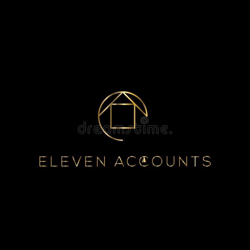 Logotipo del vector de las propiedades inmobiliarias Icono de oro de la casa