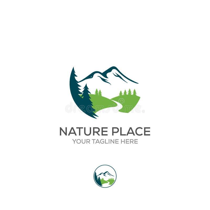 Logotipo del vector de los elementos del extracto de la naturaleza S?mbolo sagrado redondo Icono del esquema del paisaje, de mont ilustración del vector