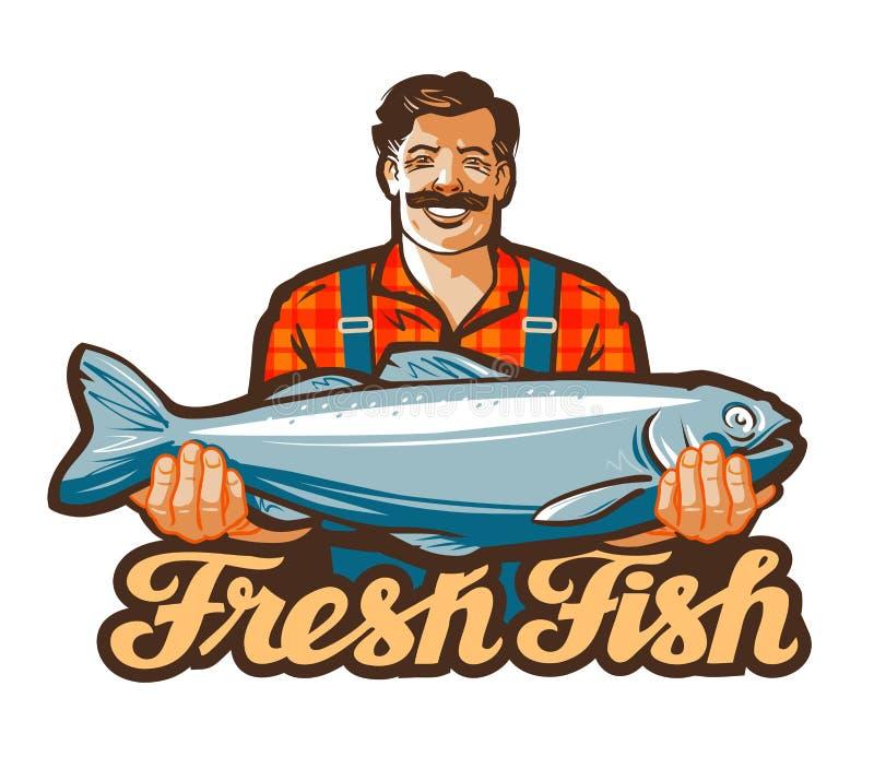 Logotipo del vector de los pescados frescos pescando, pescando con caña o pescador, pescador, icono del pescador ilustración del vector