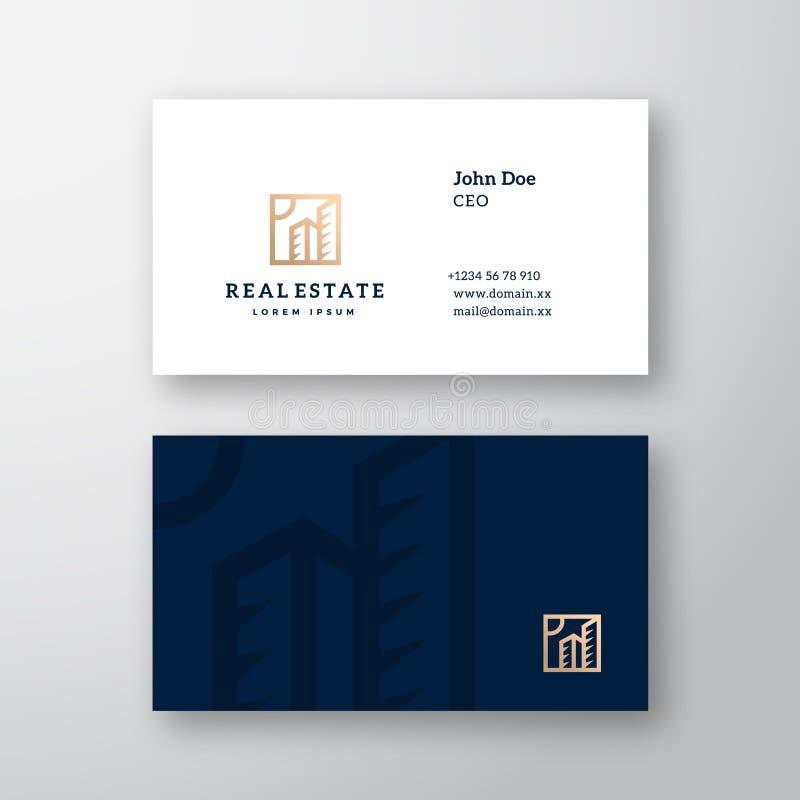 Logotipo del vector de Real Estate y plantilla elegantes abstractos de la tarjeta de visita Mofa realista inmóvil superior para a ilustración del vector
