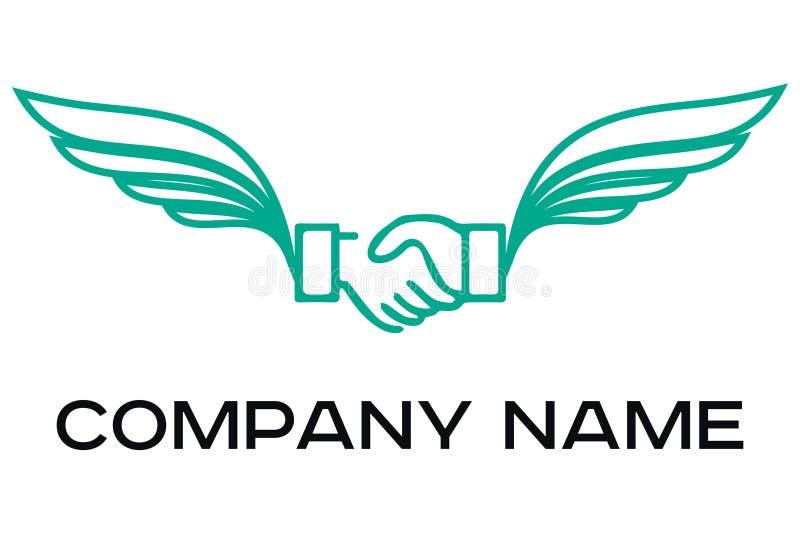 Logotipo del vector de sacudir las manos ilustración del vector