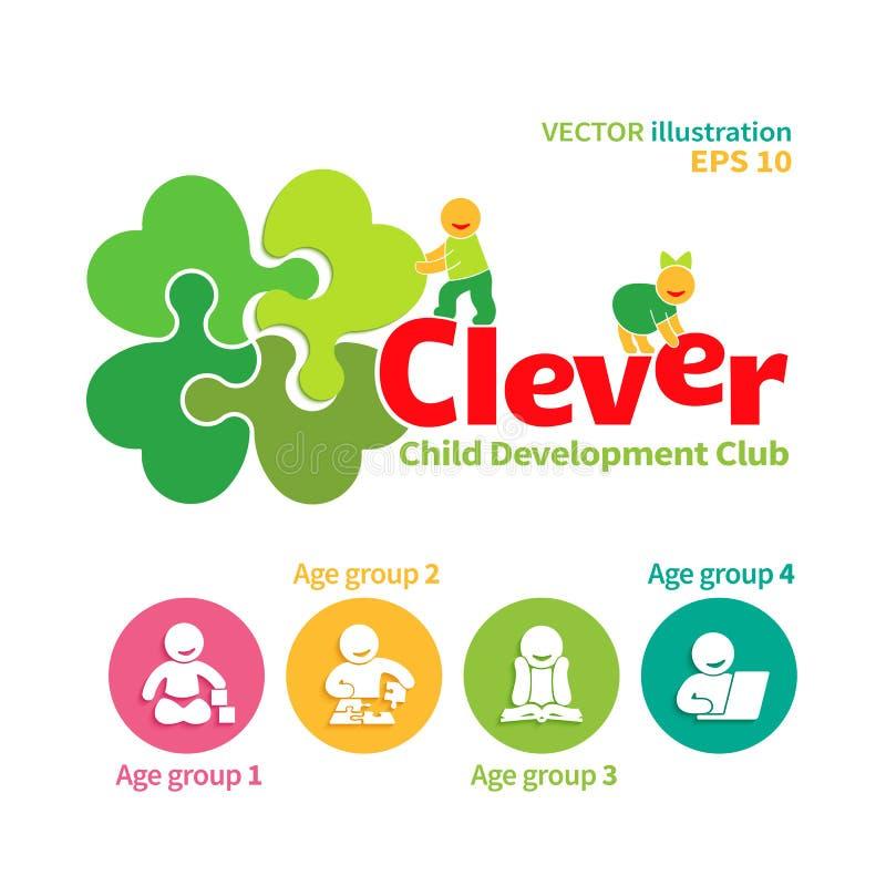 Logotipo del vector del club del desarrollo infantil ilustración del vector