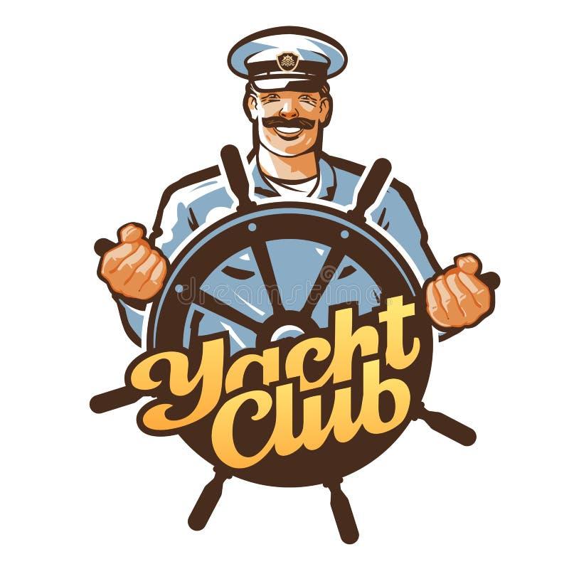 Logotipo del vector del club náutico capitán de buque, marinero o timón, icono del volante stock de ilustración