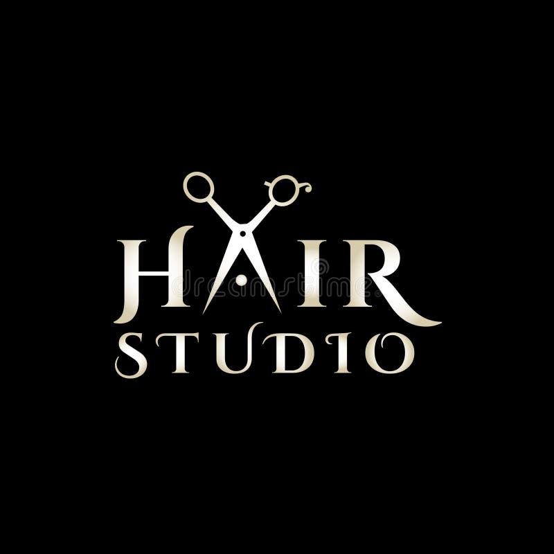 Logotipo del vector del estilista Emblema del salón de pelo stock de ilustración