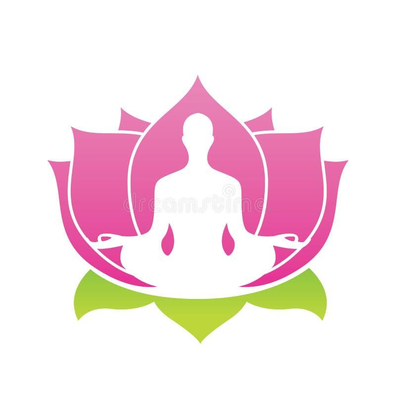 Logotipo del vector del extracto de la flor de Lotus, ejemplo de Asana de la yoga stock de ilustración