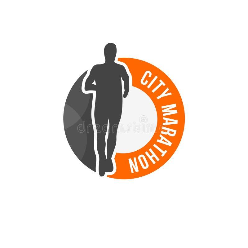 Logotipo del vector del maratón de la ciudad stock de ilustración