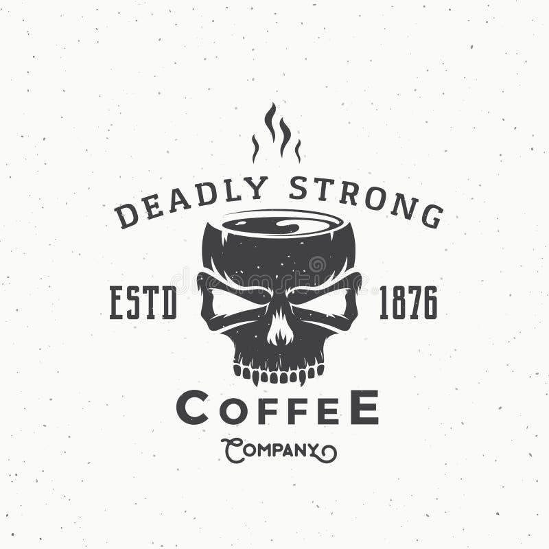 Logotipo del vector del vintage del extracto Deadly Strong Coffee Company o plantilla de la etiqueta libre illustration