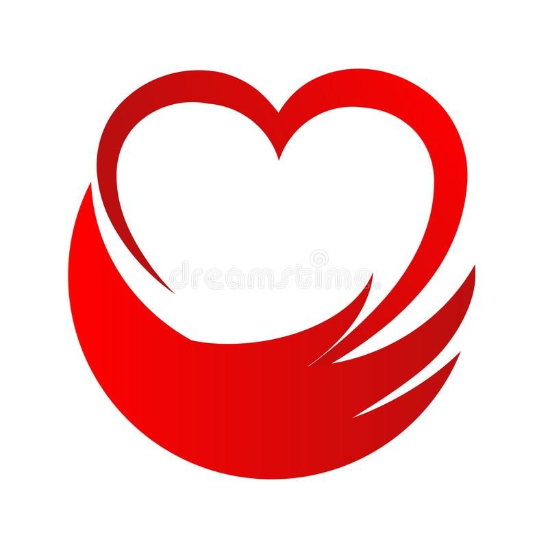 Logotipo del vector del extracto de la ayuda de la mano del corazón del amor, illustra común del vector stock de ilustración