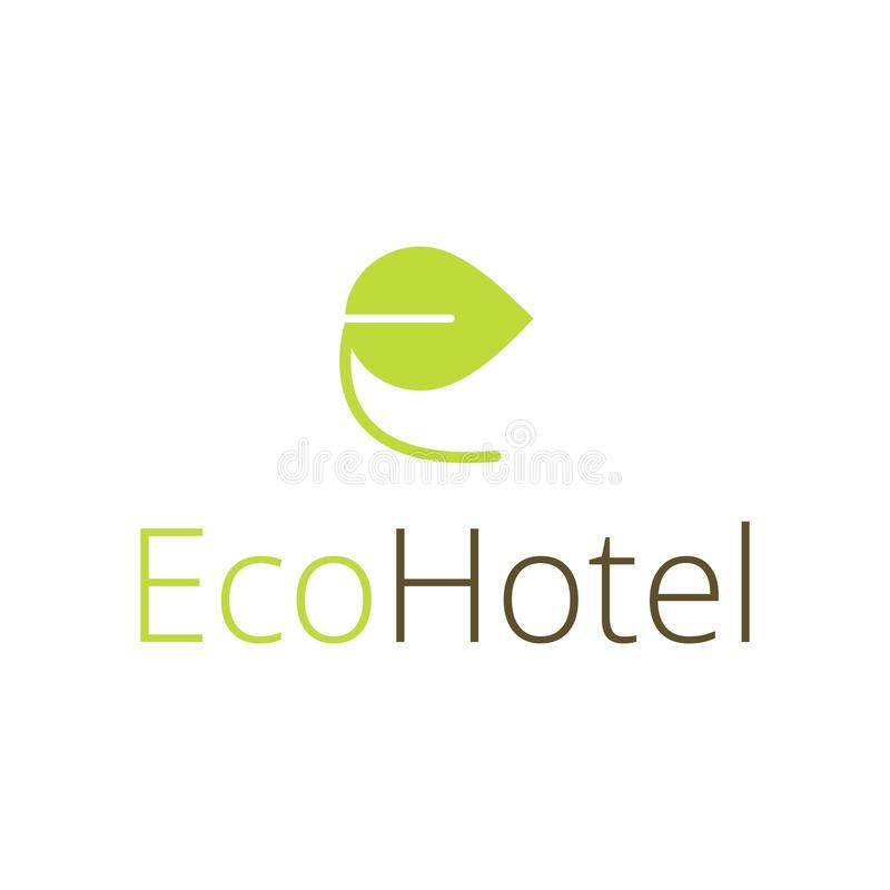 Logotipo del vector para el hotel ecológico Una hoja verde en la forma del ` del ` E de la letra stock de ilustración