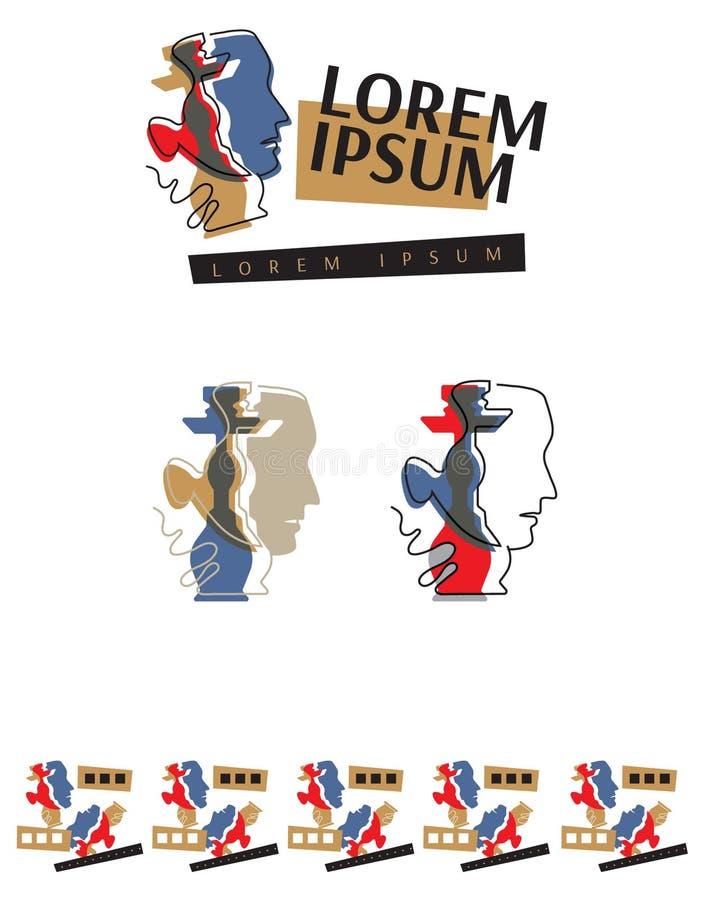 Logotipo del vector para la cachimba, museo, estudio del arte stock de ilustración