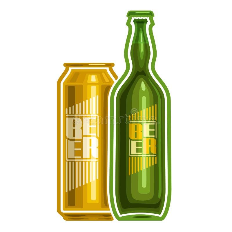 Logotipo del vector para la cerveza de la poder y de la botella stock de ilustración
