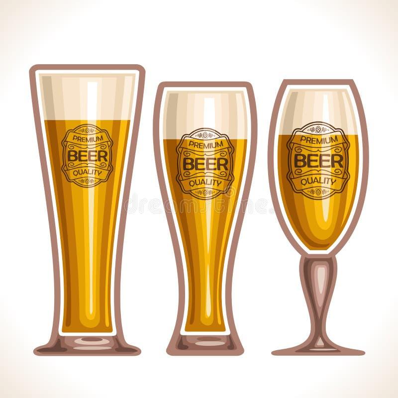 Logotipo del vector para las tazas de cristal de cerveza stock de ilustración