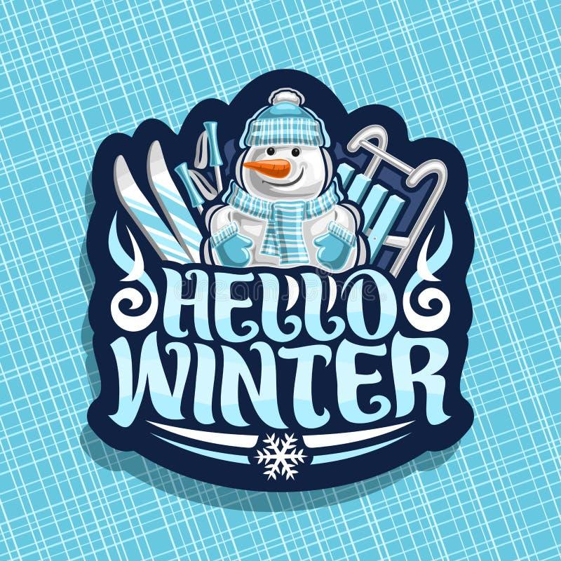 Logotipo del vector por vacaciones de invierno ilustración del vector
