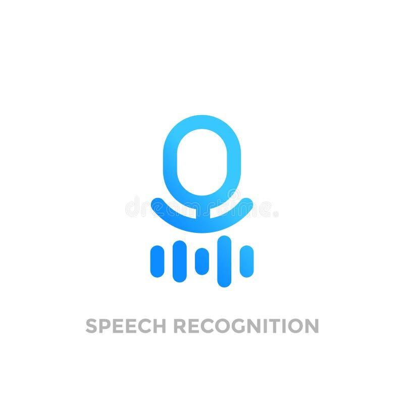 Logotipo del vector del reconocimiento de voz en blanco stock de ilustración