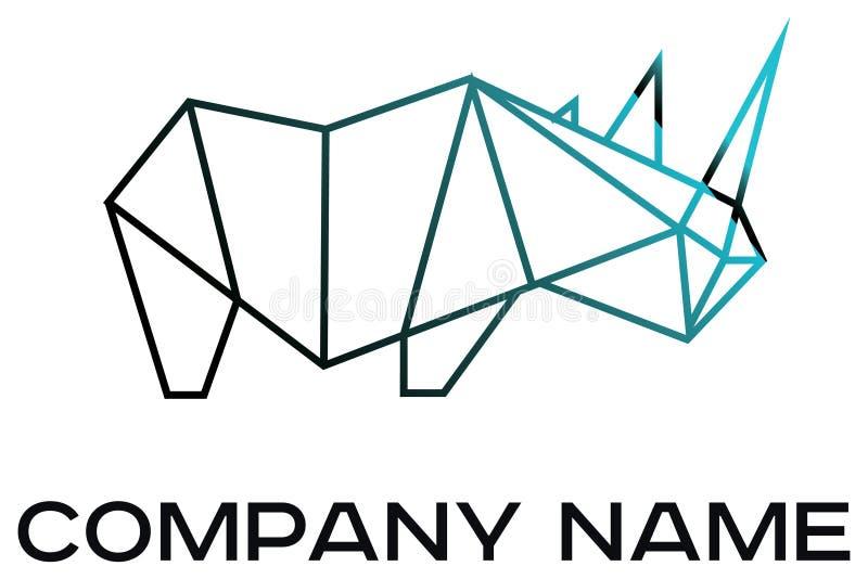 Logotipo del vector del rinoceronte geométrico stock de ilustración