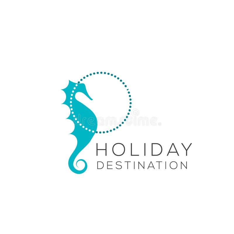 Logotipo del vector del Seahorse Icono del Seahorse Emblema del Seahorse ilustración del vector