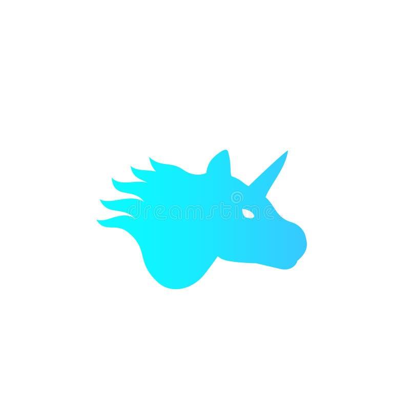 Logotipo del vector del unicornio en el animal blanco, místico ilustración del vector