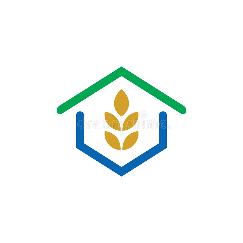 Logotipo del verde de la hoja del eco de la casa ilustración del vector