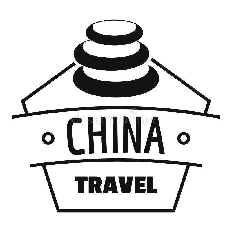 Logotipo del viaje de China, estilo negro simple ilustración del vector