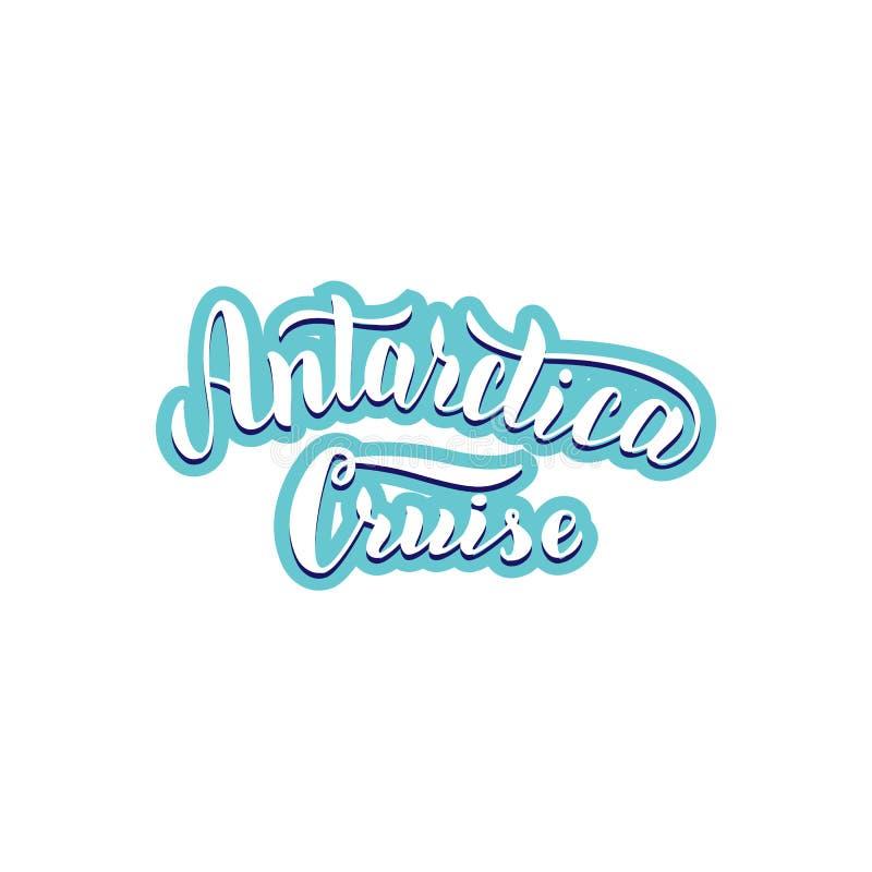 Logotipo del viaje de la travesía de la Antártida Texto que pone letras de moda Etiqueta para la página web de la agencia de viaj ilustración del vector