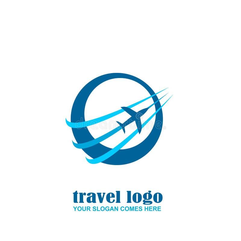 Logotipo del viaje, icono del aeroplano con el círculo stock de ilustración