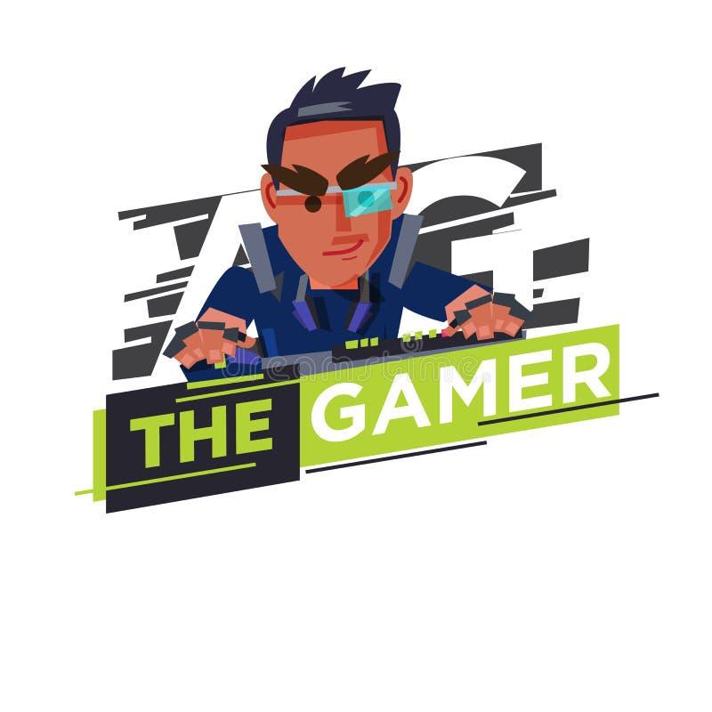Logotipo del videojugador, diseño de carácter incondicional del videojugador que juega al juego por pers stock de ilustración