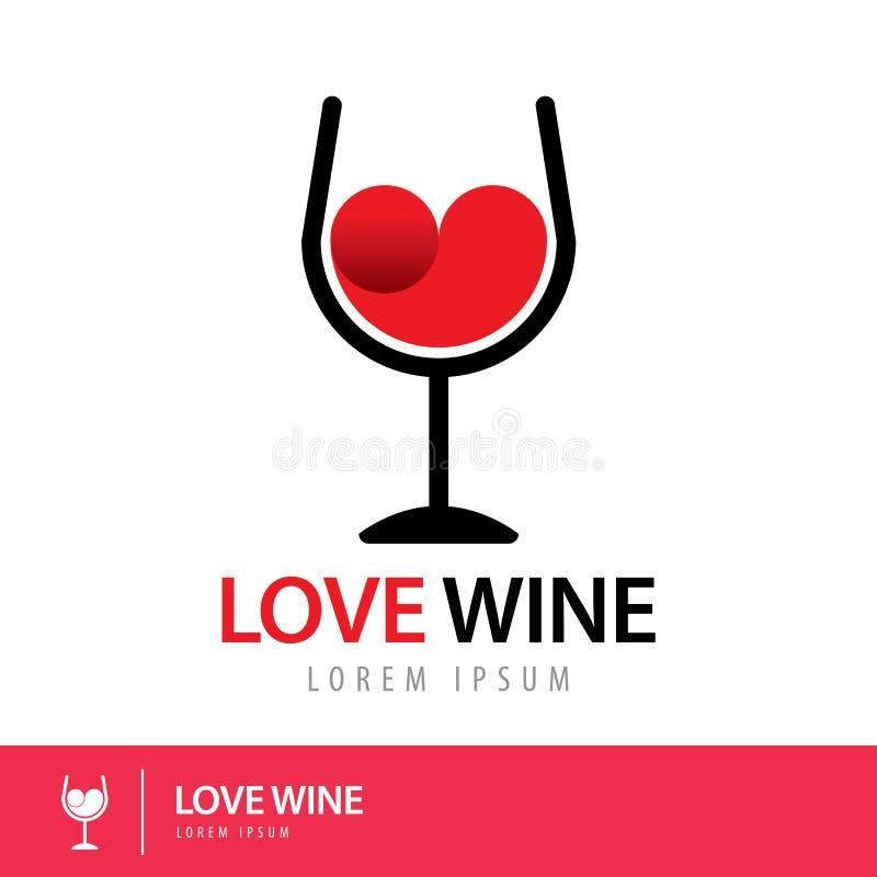 Logotipo del vino del amor stock de ilustración