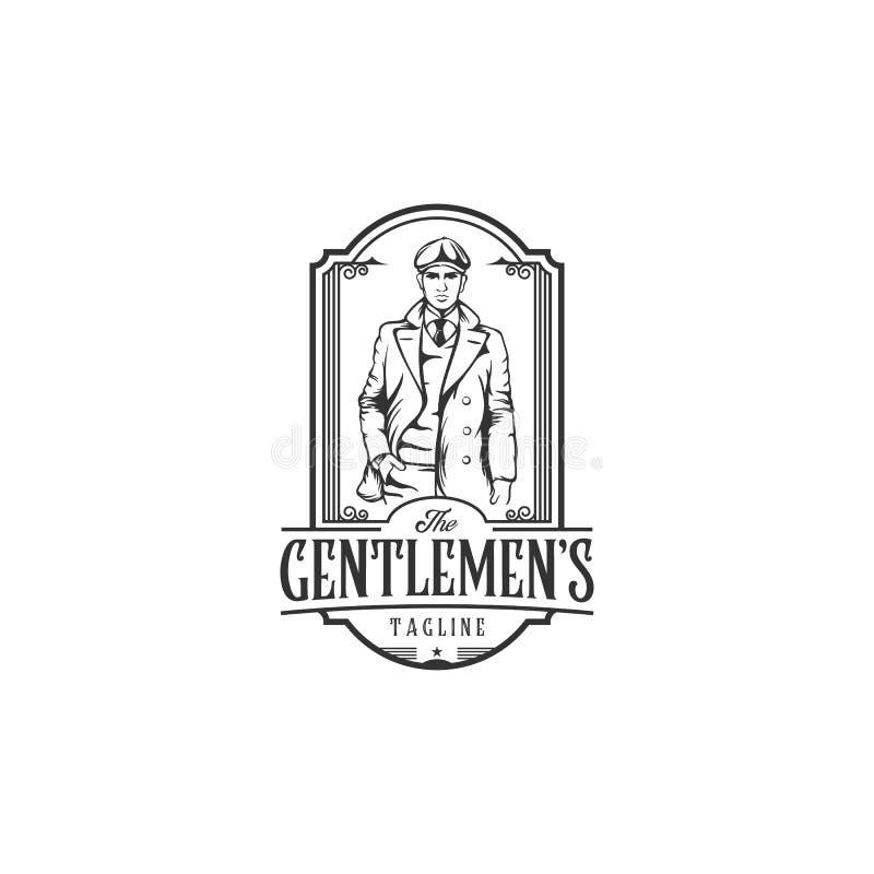 Logotipo del vintage con el hombre intrépido con un traje Logotipo elegante del caballero en estilo de la aguafuerte del vintage stock de ilustración