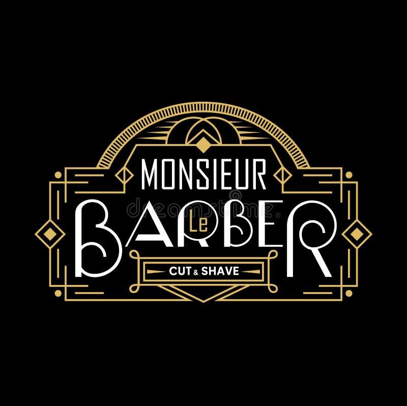 Logotipo del vintage de la peluquería de caballeros con el marco linear Logotipo de la barbería en francés Ilustración del vector ilustración del vector