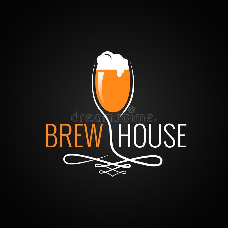 Logotipo del vintage del vidrio de cerveza en fondo negro stock de ilustración