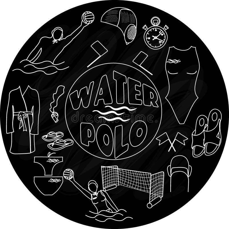 Logotipo del water polo en la pizarra stock de ilustración
