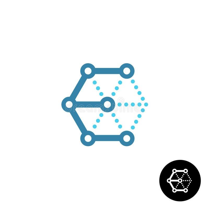 Logotipo del wireframe de la tecnología del cubo 3D de la letra E stock de ilustración