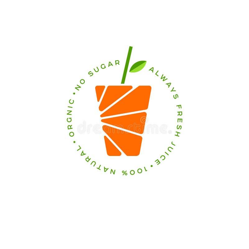 Logotipo del zumo de naranja Carteles frescos del jugo El vidrio de jugo y de paja de beber con la hoja ilustración del vector