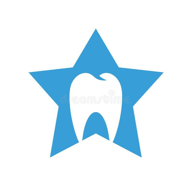 Logotipo dental de la clínica, símbolo de la estrella combinado con el diente, dentista Medical Doctor Icon stock de ilustración