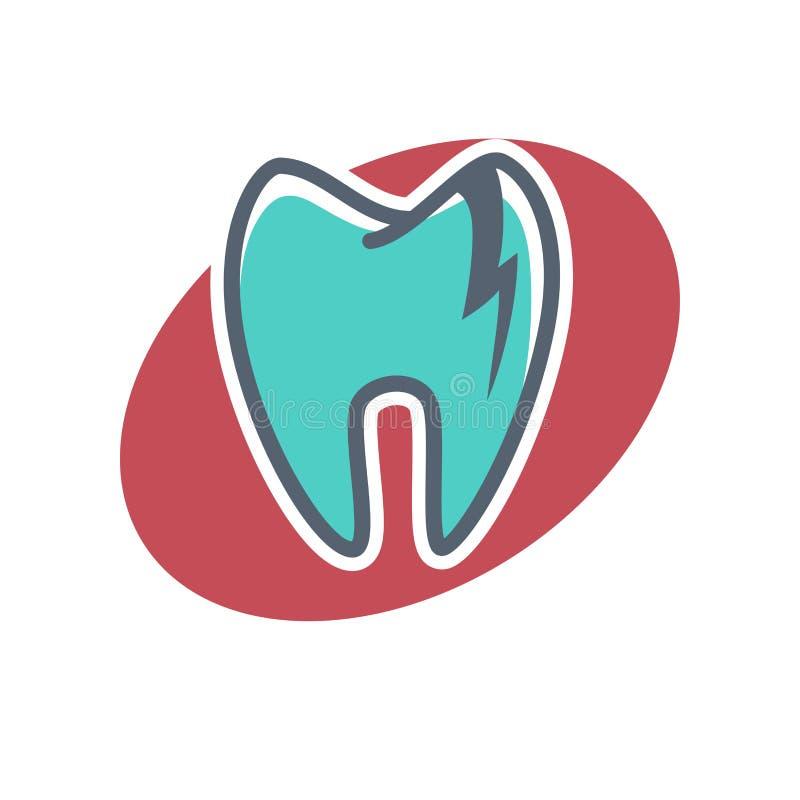 Logotipo dental en fondo oval de la forma Icono de la odontología, anuncio de la crema dental stock de ilustración
