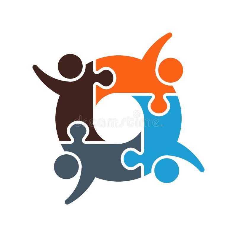 Logotipo desconcertado trabajo en equipo de la cooperación imagen de archivo
