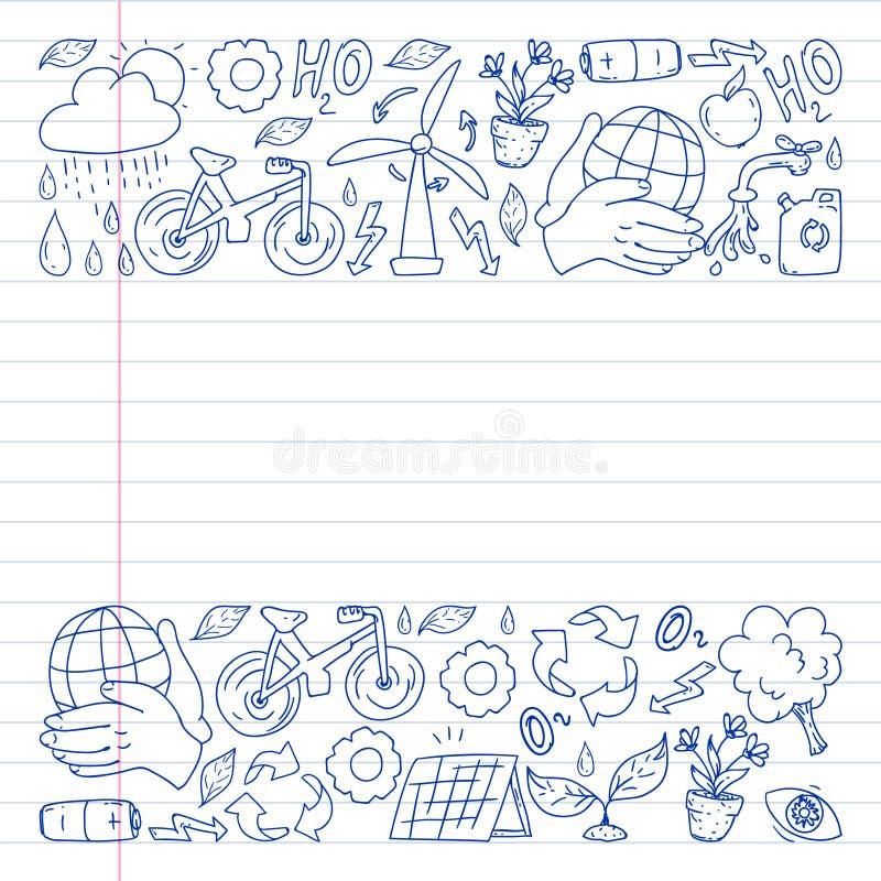 Logotipo, design e crachá do vetor no estilo de desenho da tendência - conceito de desperdício zero, reciclagem e reutilização, r fotos de stock royalty free