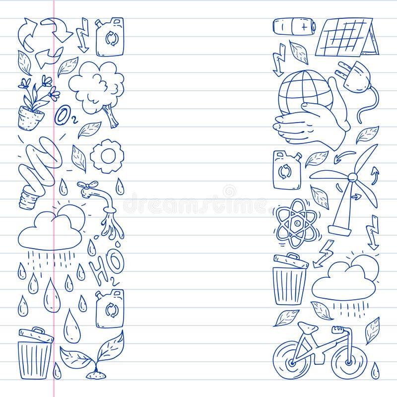 Logotipo, design e crachá do vetor no estilo de desenho da tendência - conceito de desperdício zero, reciclagem e reutilização, r imagens de stock