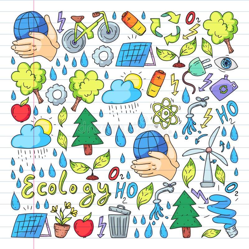Logotipo, design e crachá do vetor no estilo de desenho da tendência - conceito de desperdício zero, reciclagem e reutilização, r ilustração stock