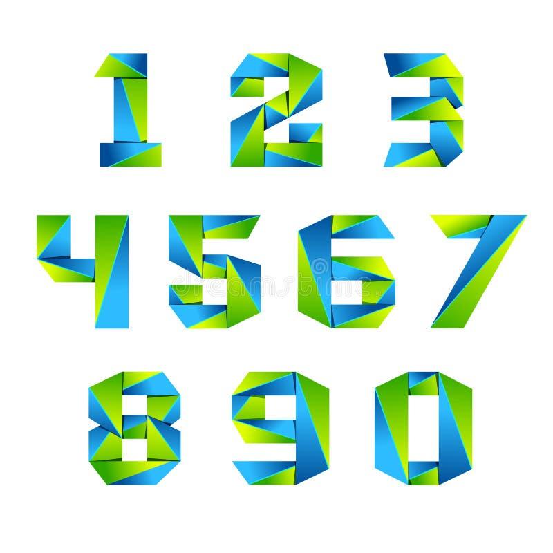 Logotipo determinado de los elementos 3d de la plantilla del diseño del icono del número Verde y azul stock de ilustración