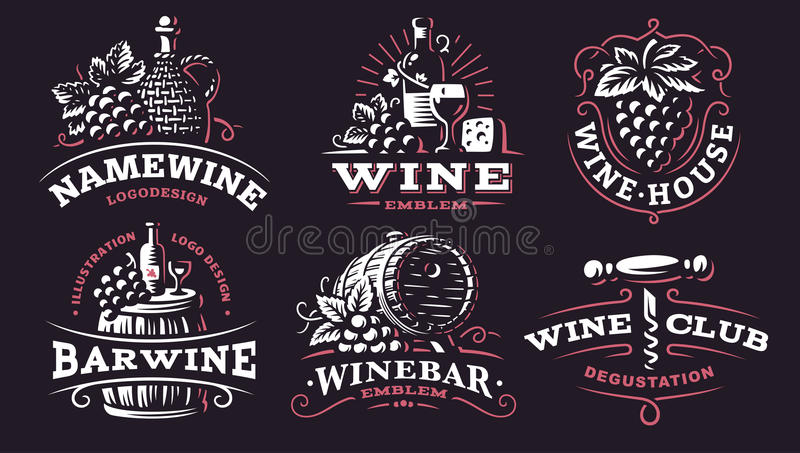 Logotipo determinado del vino - vector los ejemplos, emblemas en fondo oscuro libre illustration