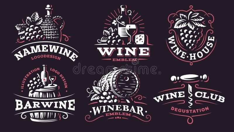 Logotipo determinado del vino - vector los ejemplos, emblemas en fondo oscuro stock de ilustración