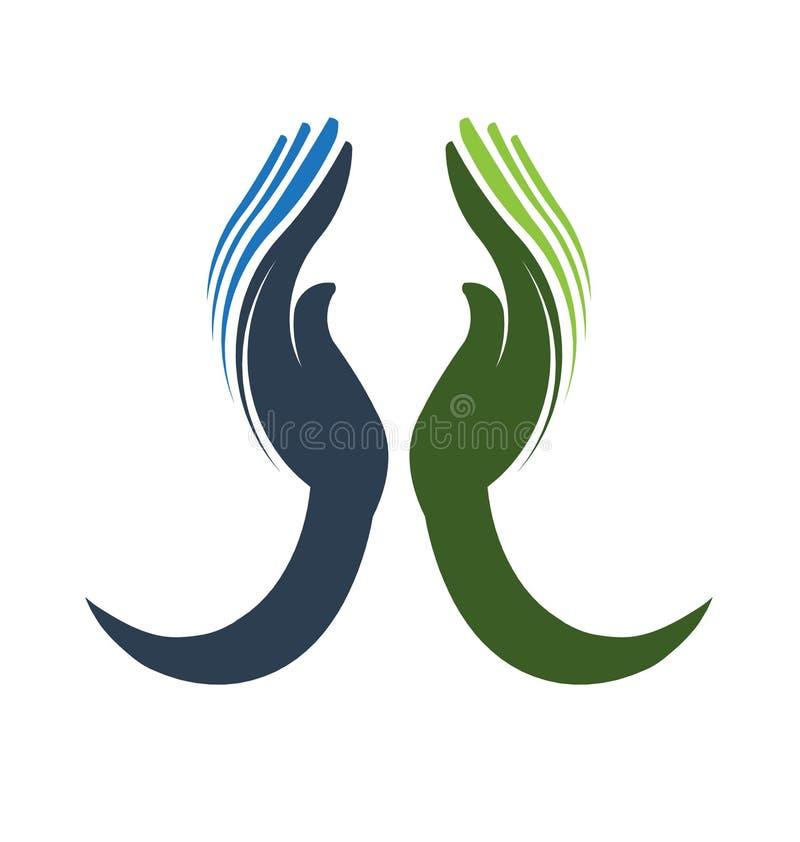 Logotipo devotado das mãos ilustração do vetor