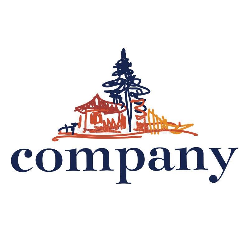 Logotipo dibujado mano con el árbol y la casa imágenes de archivo libres de regalías