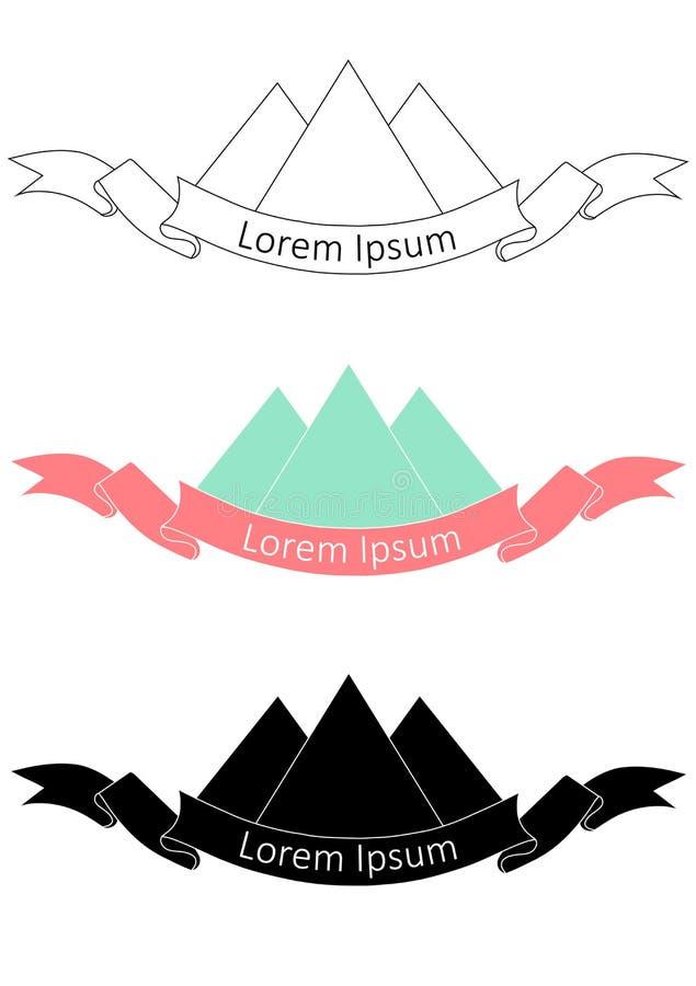 Logotipo dibujado mano de la montaña en la versión monocromática y colorida Elemento del diseño del vector libre illustration