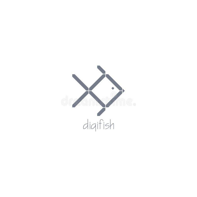 Logotipo digital de los pescados Vector digital del efecto del color gris con el fondo oscuro imagenes de archivo