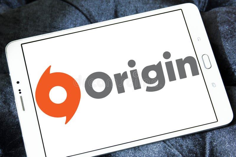 Logotipo digital del software de la distribución del origen foto de archivo