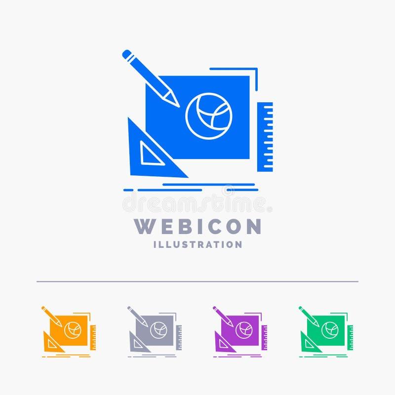 logotipo, diseño, creativo, idea, plantilla del icono de la web del Glyph del color del proceso de diseño 5 aislada en blanco Ilu stock de ilustración