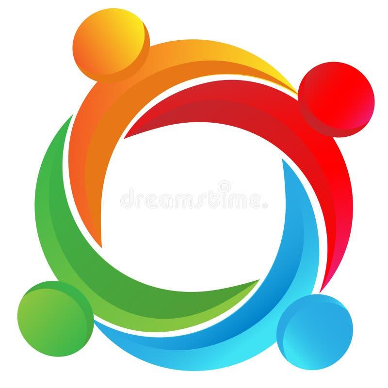 Logotipo diverso dos trabalhos de equipa ilustração stock