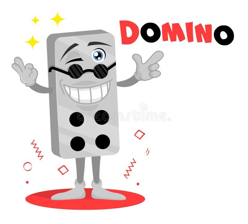 Logotipo divertido del vector del domin? Personaje de dibujos animados lindo Mascota del juego del ladrillo Etiqueta engomada del ilustración del vector